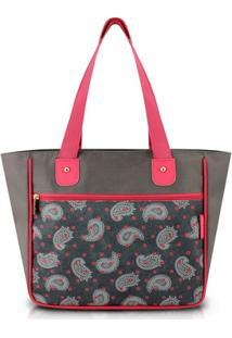 Bolsa Shopper Jacki Design Nylon - Feminino-Cinza+Rosa