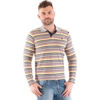 9a1b11eb0e Camisa Pólo Laranja Listras masculina