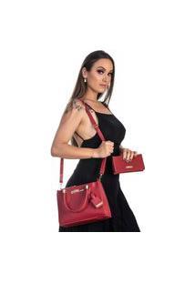 Kit Bolsa + Carteira Feminina Fashion Estilo Blogueira Vermelho