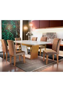 Conjunto De Mesa De Jantar Sofia Com 6 Cadeiras Estofadas Grécia Animalle Off White E Chocolate