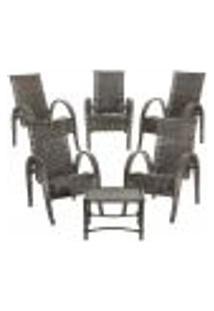 Conjunto 5 Cadeiras Napoli E Mesa De Centro Fibra Sintetica Pedra Ferro