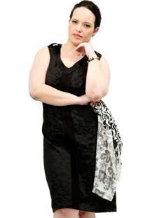 Vestido Jacquard Plus Size Preto