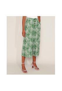 Calça Feminina Pantacourt Cintura Super Alta Estampada De Folhagem Com Botões E Bolsos Verde