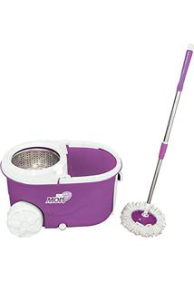 Kit Spin Mop De Limpeza Em Inox Balde Com Esfregao Rodinhas Dispenser E Puxador Vassoura Com Centrifugador Completo Brinde Refil