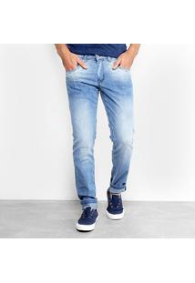 Calça Jeans Slim Zamany Estonada Masculina - Masculino-Azul Claro
