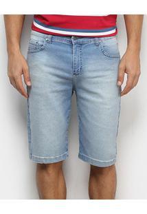 Bermuda Jeans Aleatory Elastano Masculina - Masculino-Azul Claro