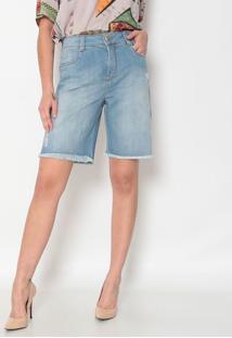 Bermuda Jeans Com PuãDos- Azul Claro- Maria Valentinmaria Valentina