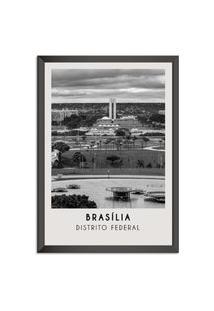 Quadro 65X45Cm Cidades Brasília Brasil Moldura Preta Com Vidro - Oppen House Decora