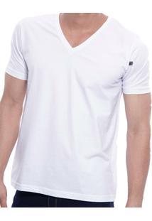 Camiseta Masculina Oitavo Ato Bordado Frontal Decote V Lisa - Masculino