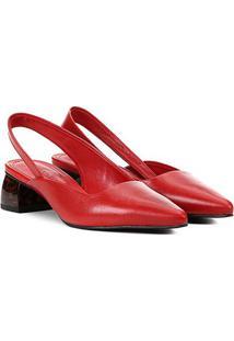 Scarpin Couro Loucos & Santos Slingback Chanel Salto Grosso Baixo Feminino - Feminino-Vermelho