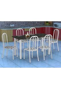 Conjunto De Mesa Granada Com 6 Cadeiras Madri Branco E Floral Gr