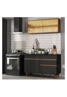Cozinha Compacta Madesa Reims 120001 Com Armário E Balcão Preto/Rustic Cor:Preto/Rustic