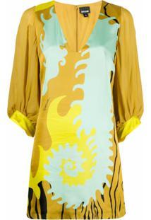 Just Cavalli Vestido Reto Color Block - Amarelo