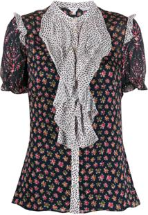 Liberty London Blusa Vita Com Babados E Mix De Estampas - Azul