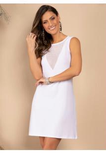 Vestido Curto Branco Com Transparência No Decote