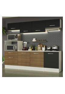 Cozinha Completa Madesa Onix 240003 Com Armário E Balcáo - Branco/Preto/Rustic 09D8 Branco