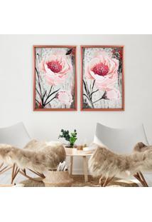 Quadro Com Moldura Chanfrada Floral Rosa Branco - Grande - Multicolorido - Dafiti
