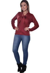 Blusa Carbella Laço Decote Transpassado Malha Modal Bordô