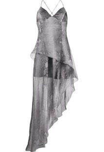 Amiri Vestido Com Animal Print - Prateado