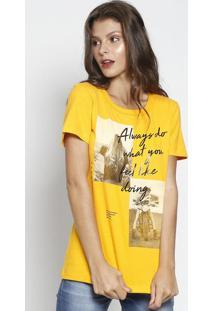Camiseta Com Inscrições Metalizadas - Amarela & Preta