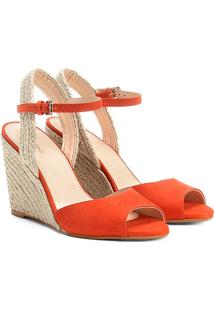 Sandália Anabela Couro Shoestock Corda Feminina - Feminino-Laranja