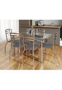 Conjunto De Mesa Elba Com 6 Cadeiras Portugal Linho Cinza E Cromado