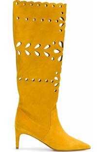 Redvalentino Bota Com Corte A Laser Floral - Amarelo