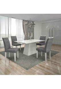 Conjunto De Mesa Com 4 Cadeiras Pampulha I Branco E Cinza