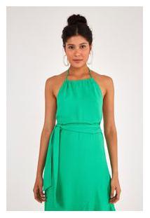 Vestido Transpassado Babado S Verde Tropical