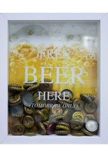 Quadro Porta Tampinhas Free Beer Here 22X27Cm Branco E Amarelo