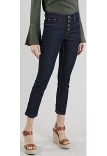 Calça Jeans Feminina Slim Com Botões Azul Escuro