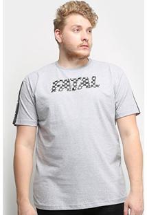 Camiseta Fatal Logo Racer Plus Size Masculina - Masculino-Mescla