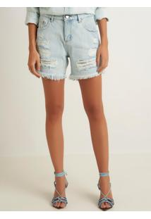 Bermuda Le Lis Blanc Boyfriend Rasgada Jeans Azul Feminina (Jeans Claro, 38)