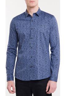 Camisa Ml Ckj Masc Floral Silk Logo - Azul Escuro - P
