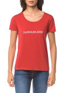 Blusa Ckj Fem Mc Logo Frente - Vermelho - P