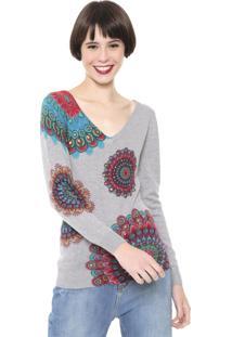 Suéter Desigual Tricot Aplicações Cinza