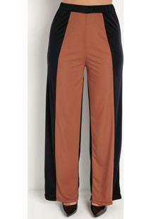 Calça Pantalona Preta E Ferrugem Com Recorte