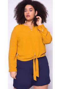 Blusa Almaria Plus Size Manga Doce Amarração Amarelo Amarelo