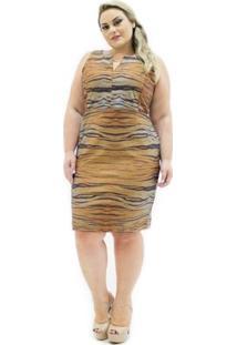 Vestido Regata Confidencial Extra Plus Size Estampa Tigresa Com Elastano Feminino - Feminino-Marrom