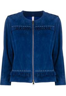 Suprema Jaqueta De Camurça Com Acabamento De Babados - Azul