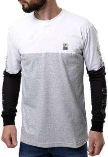 Camiseta Manga Longa Masculina Occy Branco/Cinza