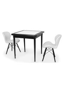 Conjunto Mesa De Jantar Em Madeira Preto Prime Com Azulejo + 2 Cadeiras Slim - Branco