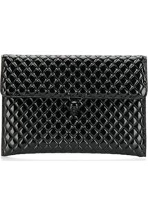 Alexander Mcqueen Quilted Envelope Clutch Bag - Preto