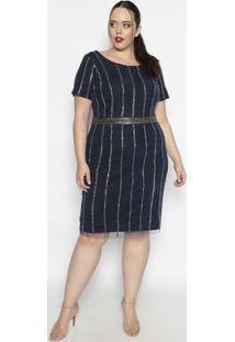 Vestido Texturizado Com Pedrarias - Azul Marinho & Pratepianeta