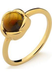 Anel Infantil Rosinha Olho De Tigre Pedra Natural Di Capri Semi Jóias X Ouro Incolor
