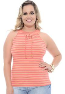 Regata Estampada Rosa Plus Size