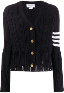 Thom Browne Cardigan '4-Bar Aran Cable' - Azul