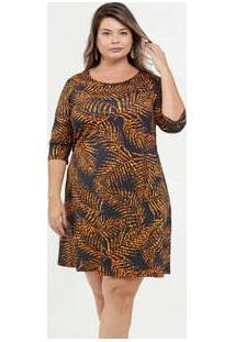 Vestido Feminino Estampa Folhas Plus Size