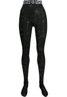Versace Meia-Calça Com Renda - Preto