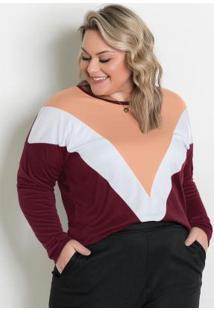 Blusa Ampla Bordô, Branca E Salmão Plus Size